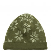 Joha  woolen double layered hat rust with snowflakes (98587)