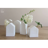 Raeder set van 4 mini vaasjes huisjes wit