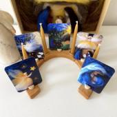 Het wol feetje setje van 5 kaarten engeltjes (a7)