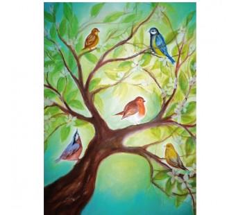 postkaart vogels in boom (Baukje Exler)