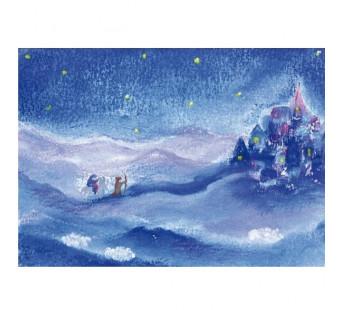 Postkaart Jozef en Maria op weg naar de stad (Baukje Exler)