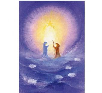 Postkaart Jozef en Maria in het licht van de ster (Baukje Exler)