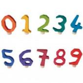 Grimm steker cijfer 0-9 regenboog kleuren (effen)