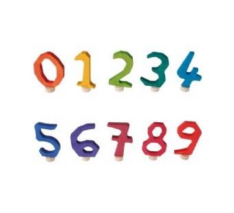 Grimms steker cijfer 0-9 regenboog kleuren (effen)