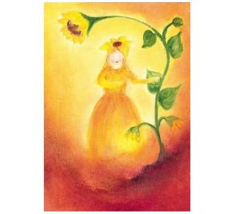 Postkaart Het zonnebloemvrouwtje (Baukje Exler)