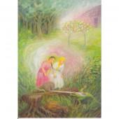 Postkaart Sneeuwwitje en Rozerood (Gabriela de Carvalho)