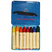 Stockmar beeswax crayons, 8 colours in a tin, waldorf selection