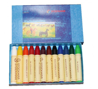 Stockmar beeswax crayons 12 colours in cardboard package