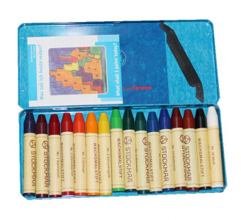Stockmar 16 beeswax crayons in a tin