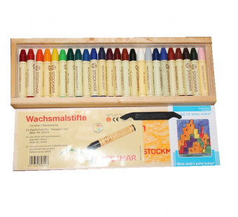 Stockmar Wax Crayons - 24 colours in wooden box