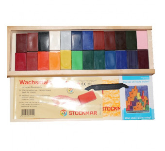 Stockmar Wax Blocks - 24 colours in a wooden case