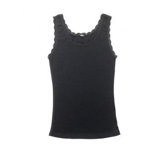 Joha hemd met kant zwart merinowol (70401)