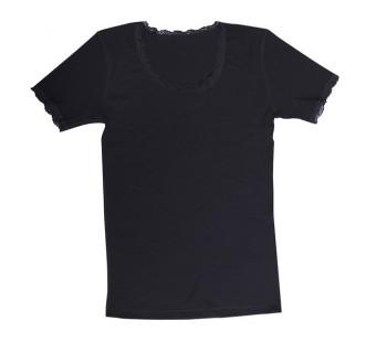 Joha tshirt met kant zwart merinowol (70403)