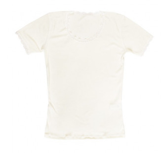Joha tshirt met kant wit merinowol (70403)