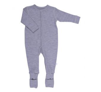 Joha jumpsuit lichtgrijs met omslag 100% merinowol  (56140)