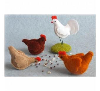 Drie kippen en een haan (atelier Pippilotta)
