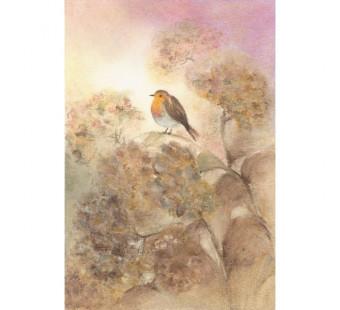 Postkaart Roodborstje op hortensia (Baukje Exler)