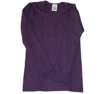 Cosilana lange mouw shirt 70% wol 30% zijde effen donkerpaars (71233)