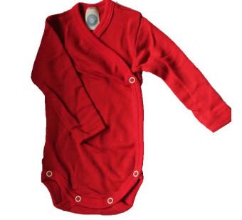 Cosilana wikkelromper lange mouw 70% wol 30% zijde rood (71063)