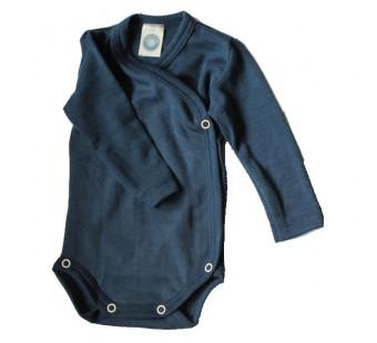 Cosilana long sleeved wrap-around body 70% wool 30% silk marine (71063)