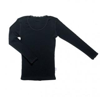 Joha merinowollen longsleeve met kant zwart (70402)
