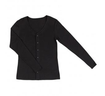 Joha wol/zijde vest zwart (11657)
