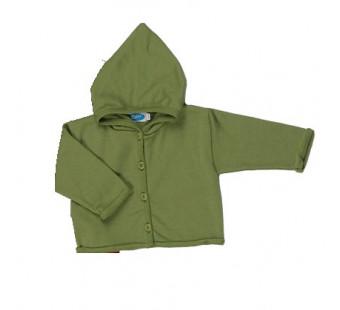 Reiff wool silk terry cardigan with hood Green