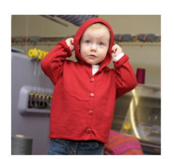Reiff wol zijde vestje met capuchon van badstofstructuur (terry) rood
