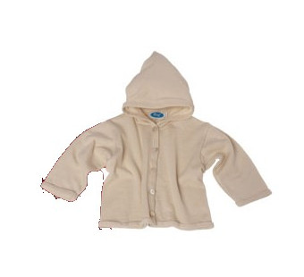 Reiff wool silk terry cardigan with hood Natural
