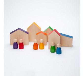 Grapat set van 6 huisjes en Nins (15-110)