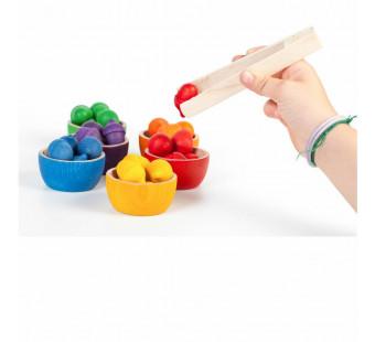 Grapat speelset bakjes eikeltjes en pincet (15-107)