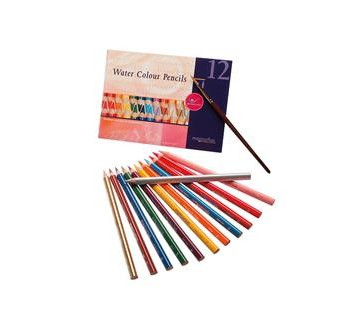 AMS set of 12 water colour pencils with a brush