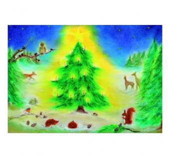 Postkaart Kerstfeest in het bos (Baukje Exler)