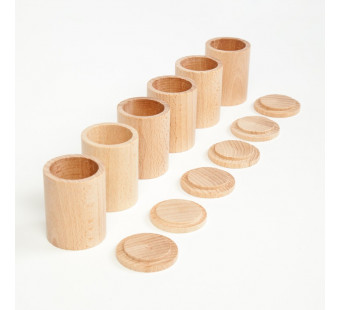 Grapat six cups with lid in natural wood (16-136)